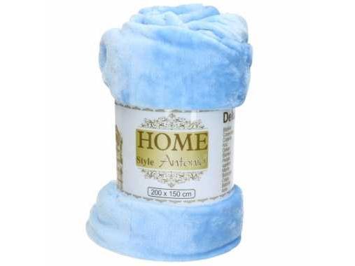 Fleece deken flanel lichtblauw