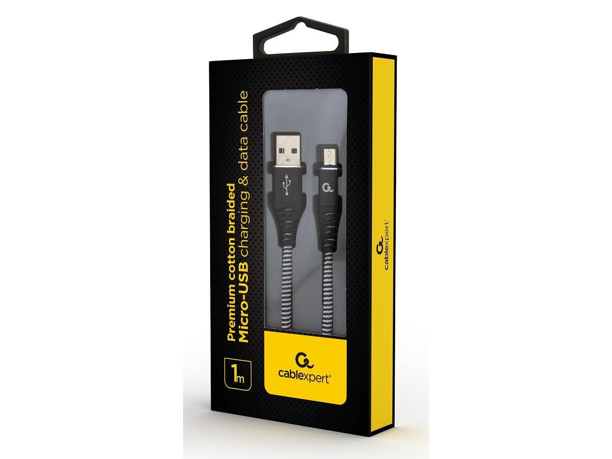 Micro-USB laad- & datakabel Zwart Katoen 1m