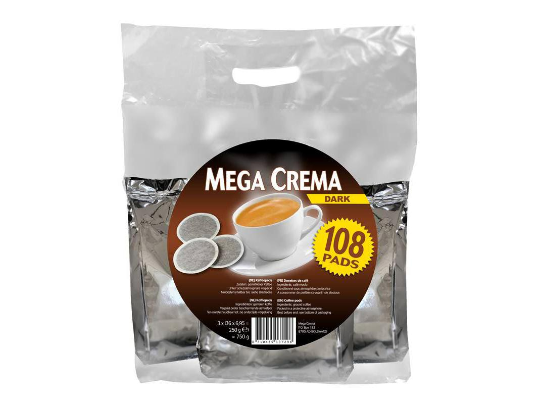 Mega Crema Dark 108 Koffiepads